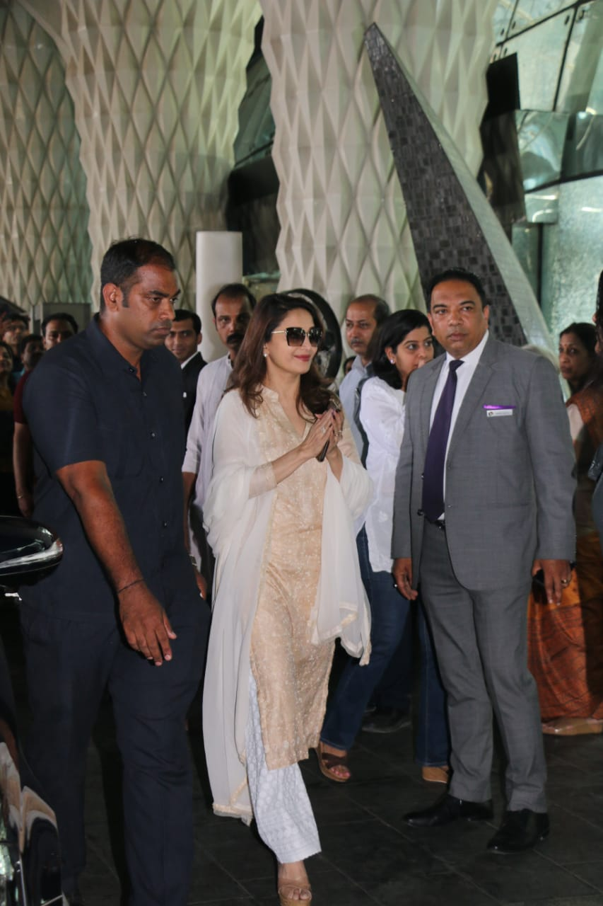 Madhuri Dixit at Raj Kumar Barjatya's prayer meet