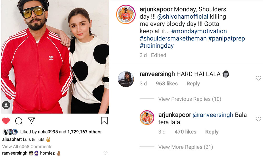Ranveer Singh's comment on Arjun Kapoor and Alia Bhatt's posts