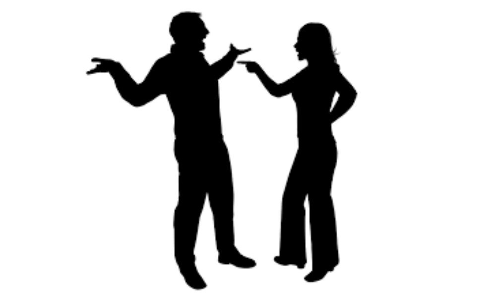 Bollywood Couple fighting silhouette