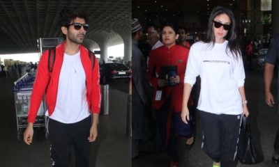 Kartik Aaryan and Kareena Kapoor Khan at the airport