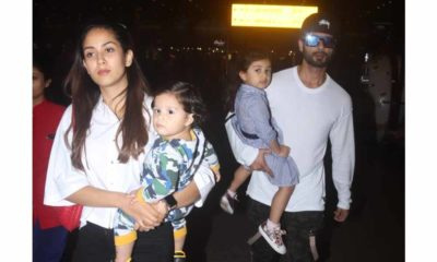 Shahid Kapoor with Mira Kapoor and kids Zain and Misha